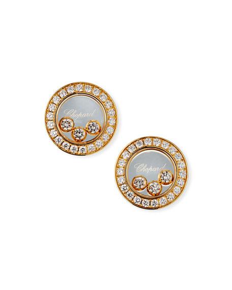 Chopard 18k Gold Diamond Icon Stud Earrings