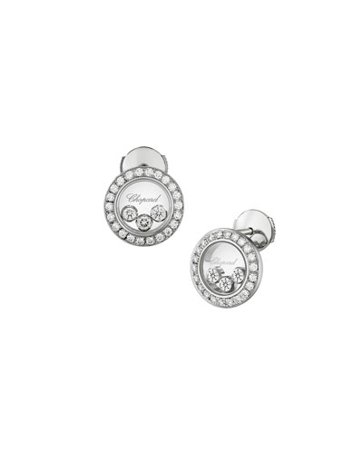 Happy Diamonds Round Stud Earrings in 18K White Gold