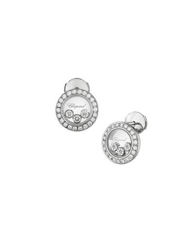 Happy Diamonds Round Stud Earrings in 18K White Gold