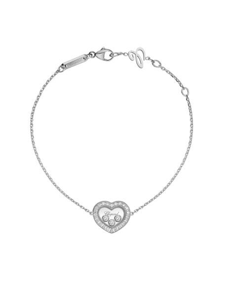 Happy Diamonds Icon Heart Station Bracelet in 18K White Gold