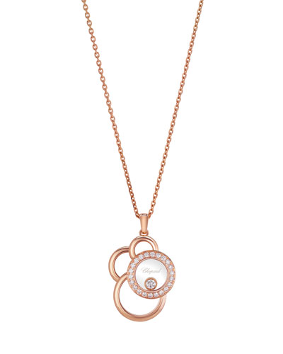 Happy Dreams Circle Diamond Pendant Necklace in 18K Rose Gold