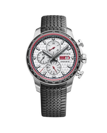 44mm Racing Mille Miglia Classic Chronograph Watch with Tire Strap, Black/Red