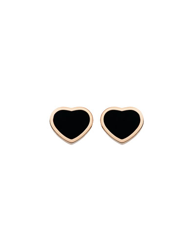 Happy Hearts Onyx Stud Earrings