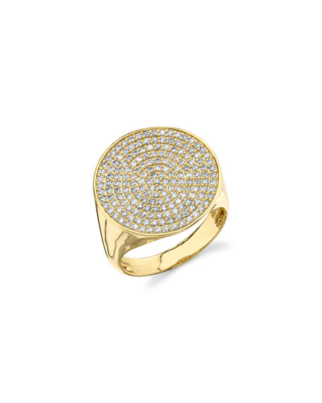 Pavé Diamond Signet Ring, Size 6.5