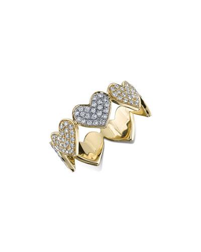 Large Pavé Diamond Heart Band Ring, Size 6.5