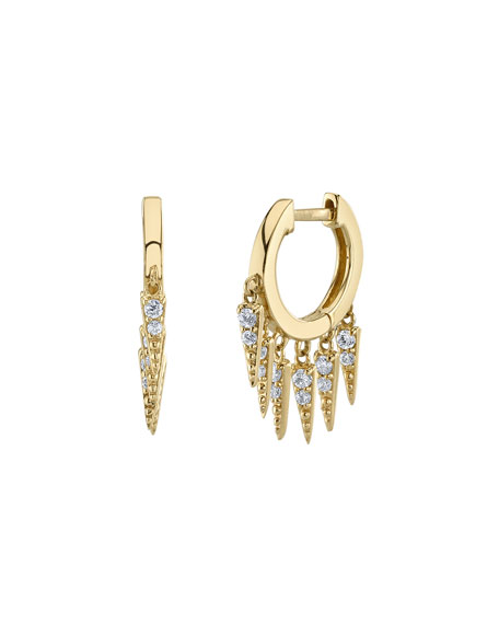 Large Pavé Diamond Fringe Hoop Earrings