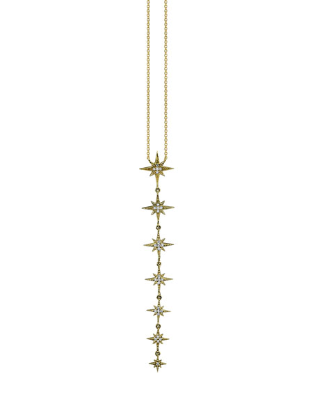 Linear Pave Diamond Starburst Pendant Necklace