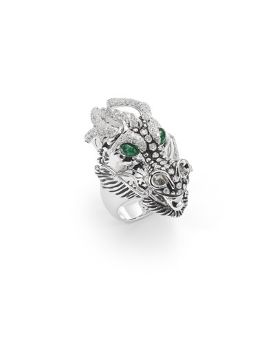 18k Diamond & Emerald Dragon Ring, Size 6.5