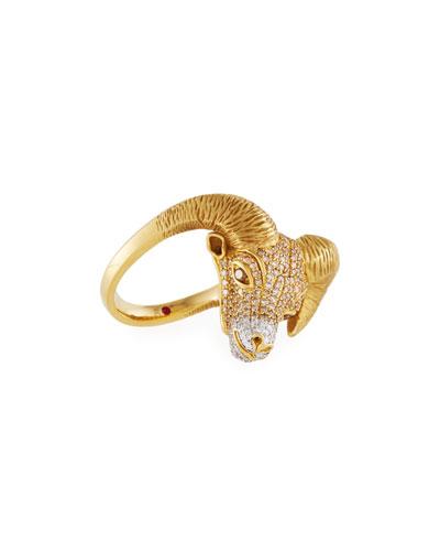 18k Diamond Pavé Ram Ring, Size 6.5