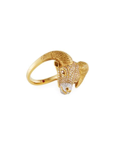 18k Diamond Pave Ram Ring, Size 6.5