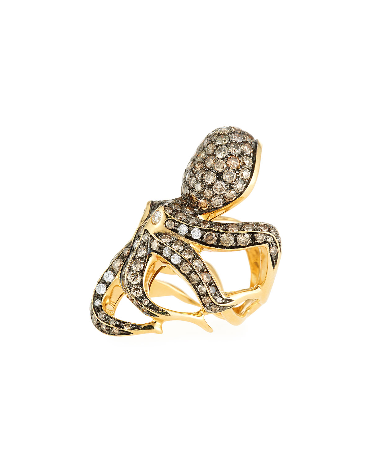 Roberto Coin 18k Cognac Diamond Octopus Ring, Size 6.5
