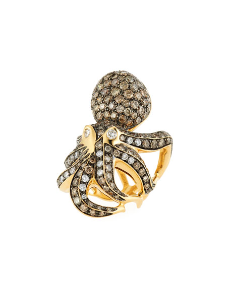 18k Cognac Diamond Octopus Ring, Size 6.5