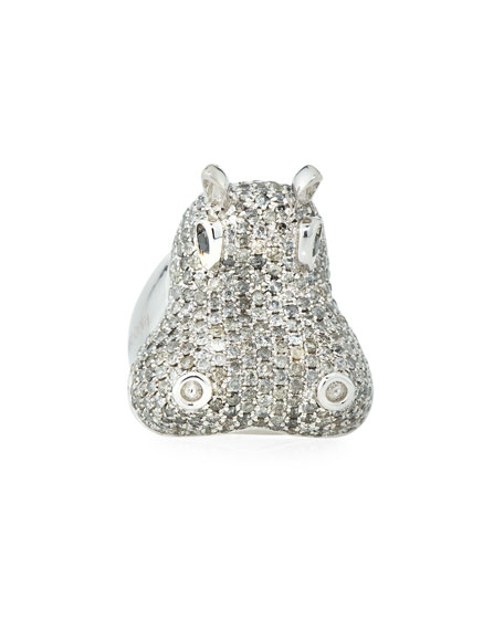 18k Diamond Pave Hippo Ring, Size 6.5
