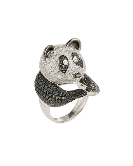 Animalier 18K White Gold Panda Ring with Black & White Diamonds, Size 6.5