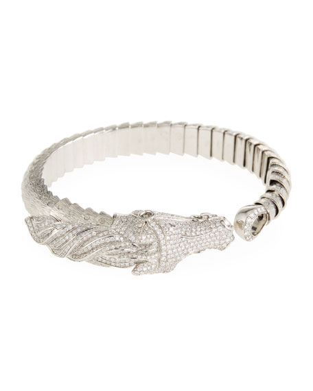 18k Gold Diamond Pave Horse Bangle Bracelet