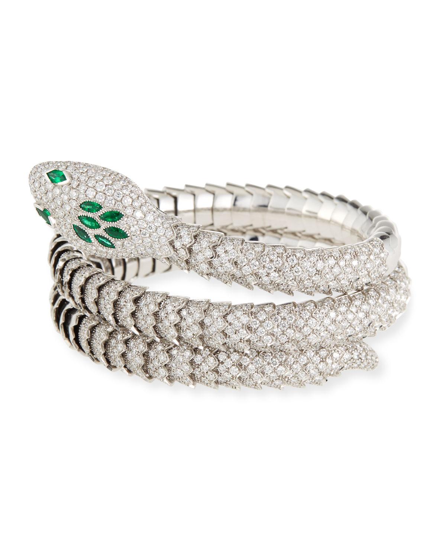 18k Gold Emerald Diamond Snake Bangle Bracelet