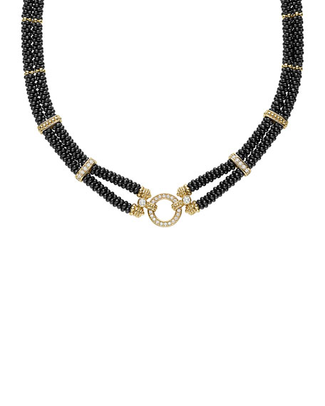 Two-Strand Circle Game Black Ceramic Necklace with Diamonds