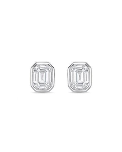 Emerald-Illusion Diamond Baguette Stud Earrings