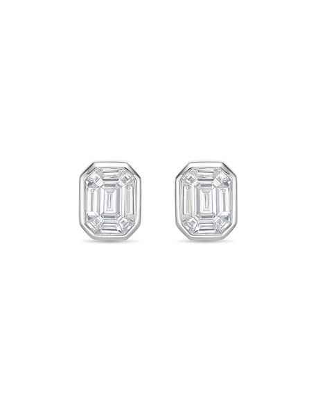 Memoire Emerald-Illusion Diamond Baguette Stud Earrings 489TToa5l
