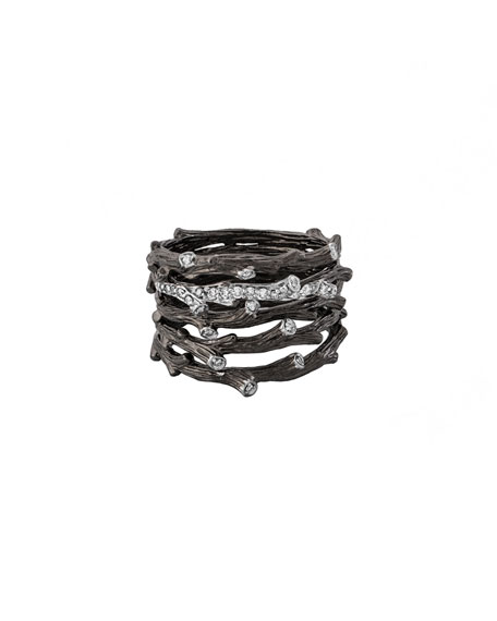 Enchanted Forest Multi-Row Twig Ring with Diamonds
