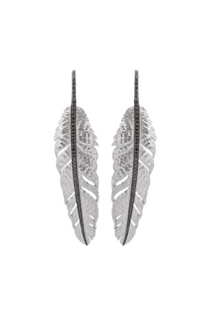 Michael Aram Large Drop Feather Earrings with Black Diamonds
