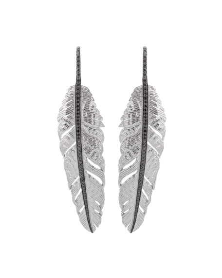 Large Drop Feather Earrings with Black Diamonds