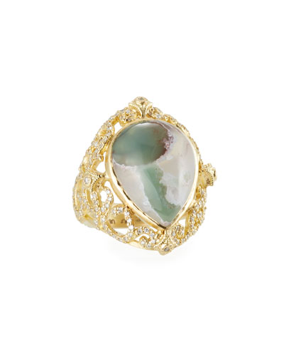 Sueno Aquaprase & Diamond Scroll Ring