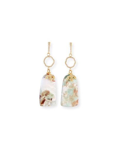 Old World Aquaprase Slice Drop Earrings