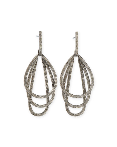 Triple Hoop Diamond Drop Earrings