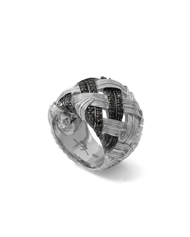 Michael Aram Palm Woven Band Ring with Black Diamonds | Neiman Marcus
