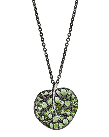 Botanical Leaf Pendant Necklace with Peridot & Diamonds