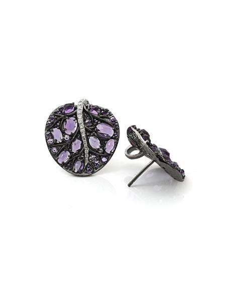 Michael Aram Botanical Leave Amethyst & Diamond Earrings q3eab1Z