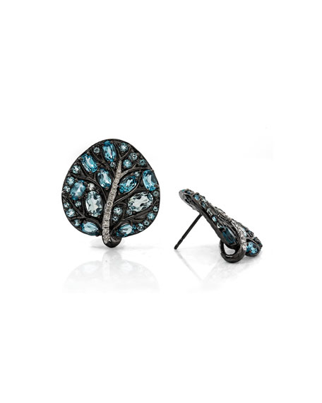 Botanical Leave Blue Topaz & Diamond Earrings