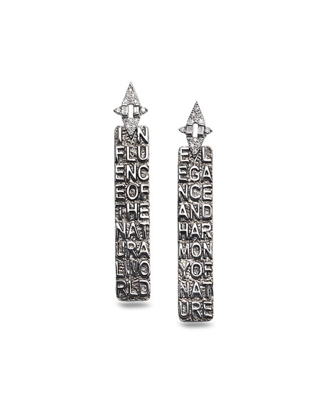 Sagrada Familia Engraved Stick Earrings with Diamonds