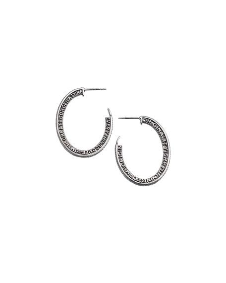 Sagrada Familia Engraved Hoop Earrings with Diamonds