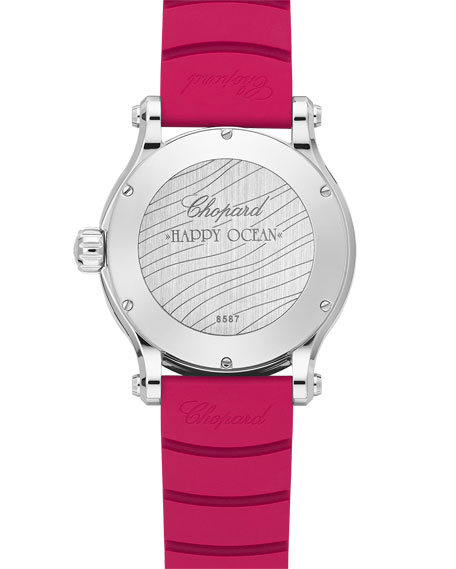 40mm Happy Ocean Sport Medium Watch with Diamonds, Blue/Red