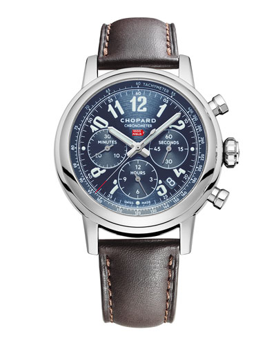 42mm Mille Miglia Classic Racing Chronograph Watch with Leather Strap