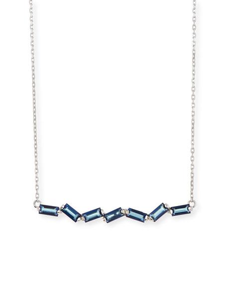 Zigzag Blue Topaz Bar Necklace