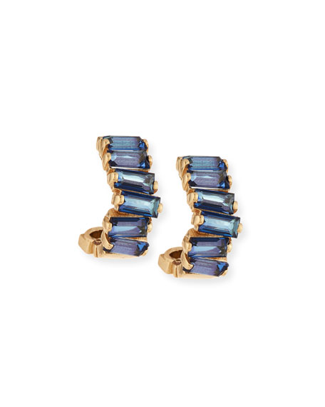 English Blue Topaz Mini Hoop Earrings