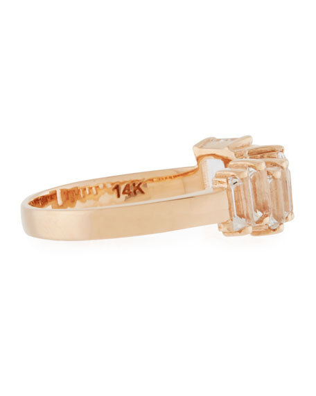 Baguette White Topaz & 14K Rose Gold Band Ring, Size 6