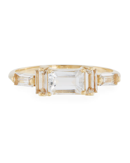 Baguette White Topaz Band Ring, Size 6