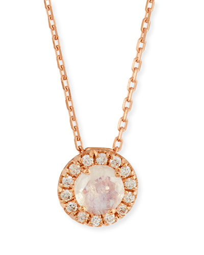 Rainbow Moonstone & Diamond Pendant Necklace in 14K Rose Gold