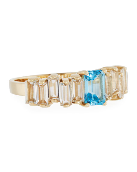 Blue & White Topaz Baguette Band Ring in 14K Yellow Gold, Size 6.25