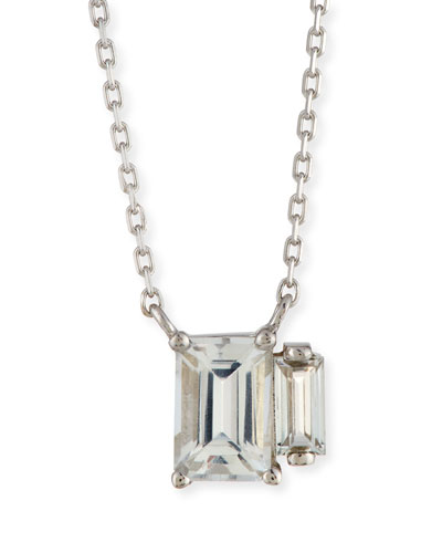 Emerald-Cut White Topaz Duo Necklace