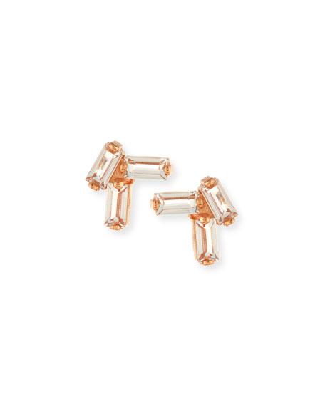 White Topaz Baguette Stud Earrings in 14K Rose Gold