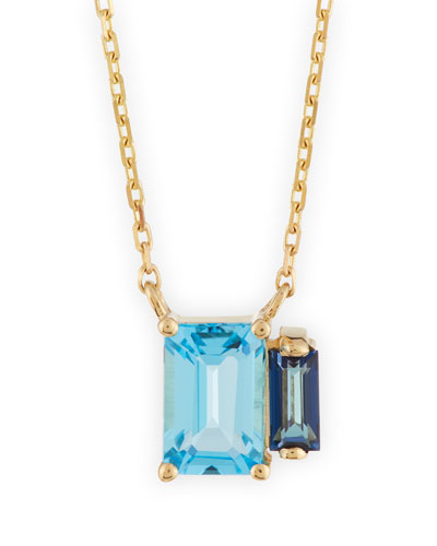 Emerald-Cut Blue Topaz Pendant Necklace