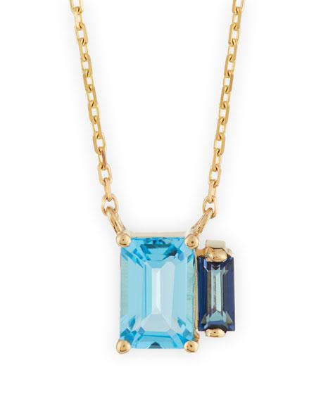 Emerald-Cut Blue Topaz Pendant Necklace
