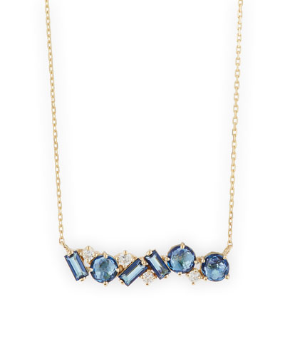 Mixed-Cut English Blue Topaz Bar Necklace with Diamonds
