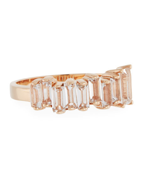 White Topaz Baguette Band Ring in 14K Rose Gold, Size 7