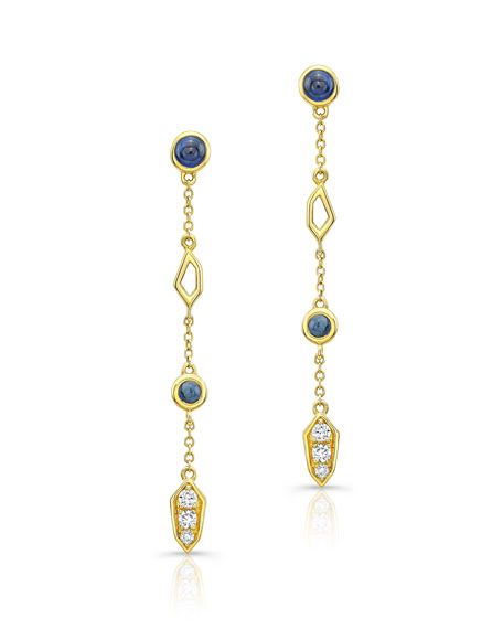 Sapphire Cabochon & Diamond Drop Earrings